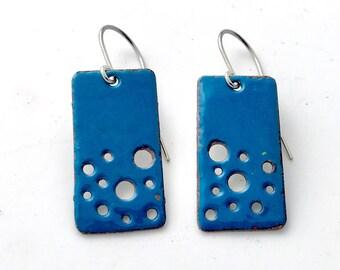 Blue Earrings, Enamel Earrings, Everyday Earrings, Simple Earrings, Handmade Earrings, Dangle Earrings, Colorful earrings, Boho Earrings