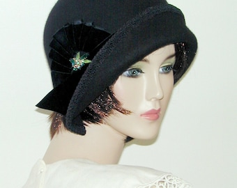 Custom Convertible ~Mary~ 3 in 1 cloche with velvet- Downton Abbey hat, Miss Fisher, Great Gatsby hat