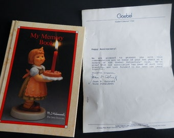 Vintage Goebel Collectors' Club Book & 10-Year Pin - Hummel - 1986 - Happy 10th Birthday, memory book, candle, West Germany, illustrated