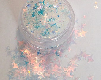 Wish Upon The Starz - 4 Point Star, Iridescent Cosmetic Glitter For Face, Body, Festival & Creative Makeup, Crafts and Slime.