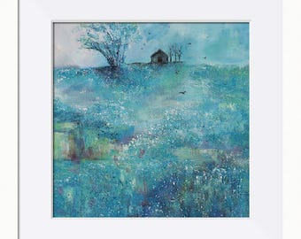 Landscape Print, Heather Moor Landscape Picture - Limited Edition Fine Art Print, Original Artwork by Tracey Zorek