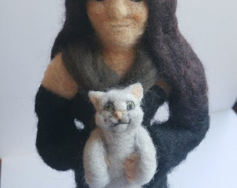 Witch with cat soft sculpture needle felted