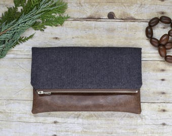 Herringbone flannel fold over clutch- fold over clutch - dark blue purse -  herringbone fall clutch - vegan clutch - faux leather purse