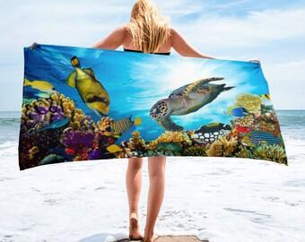 Underwater Ocean Reef Sea Life Beach Towel