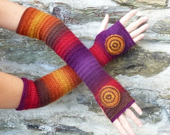 "Long fingerless gloves crochet ""India"" - one size"