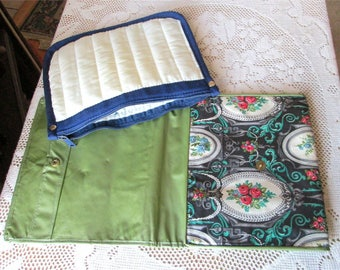 Two vintage Makeup Hosiery Pouches, Avon Zippered Cosmetic, Accordion style bag, Envelope Gloves Bag, cotton plastic purse, jewelry storage