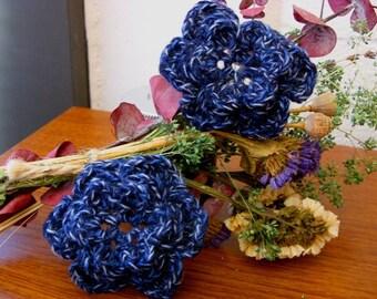 Blue Flower Applique - Blue Rose Applique - Upcycled Flower Applique - Recycled Flower Applique - Crochet Flower Applique