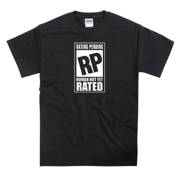 ESRB Rating Pending Human Not Yet Rated Videogame Parody Tshirt
