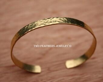 Gold Cuff Bracelet - Hammered Brass Cuff Bracelet - Gold Brass Cuff - Nu Gold Brass - Gold Alternative - Skinny Hammered Cuff - Minimalist