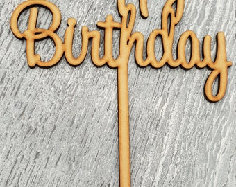 Wooden 'Happy Birthday' Cake Topper