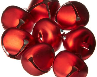 Jingle Bells - Matte Red - 25mm - 8 pieces-1148-25