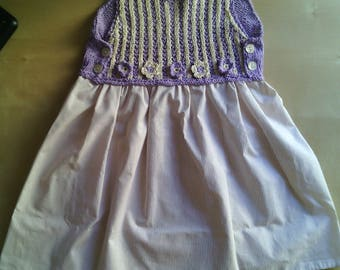 Summer dress for little girl handmade crochet with small flowers in purple cotton and elegant ivory