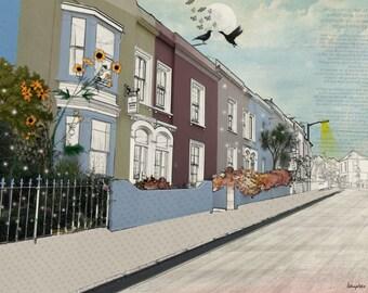 Urban Art, London Art Print, Urban Poster, Horizontal Wall Art, Digital Print, Wall Decor ,Living Room Art Print