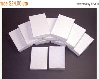 TAX SEASON Stock up 100 Pack White Color Cotton Filled 3.25 X 2.25 X 1 Inch Size Retail Jewelry Gift Presentation Boxes