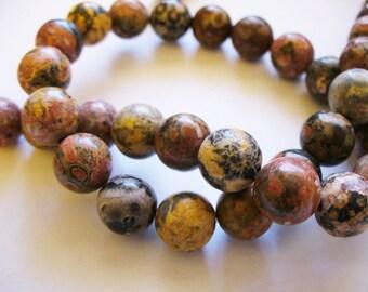 Leopard Skin Jasper Beads Gemstone Round 10MM