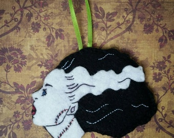 Handsewn Bride of Frankenstein ornament, horror brooch, felt magnet