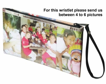 Personalized LARGE size wristlet with pictures from you - FREE SHIPPING personalized memories keeper gifts framed picture customized holiday