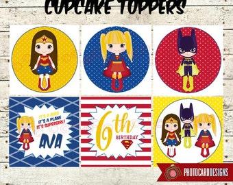 Supergirl Cupcake Topper, Supergirl Party, Wonder Woman, Cupcake Topper Printable, Superhero, Party | Printables, Digital, PERSONALIZE
