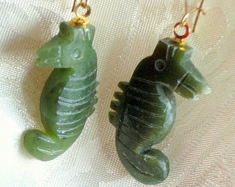 Jade Seahorses Vintage Hand Carved Earrings That 70's Show Jewelry Ocean Green Sea Horse Charms on Gold Tone Kidney Wires Pierced 1960's