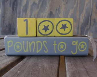 Reversible/Weight loss/pounds gone/pounds to go/hand painted/Countdown blocks cubes wood block/motivational/diet/countdown/Weightloss