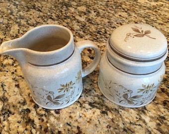 Sugar Bowl and Creamer Sandsprite Lambethware by Royal Doulton