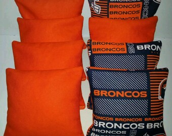 Set Of 8 Denver Broncos Cornhole Bean Bags FREE SHIPPING