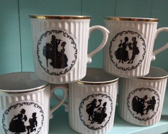 Antique Vintage Czechoslovakian Romantic Dancing Couple Tea/Coffee Mugs Cups - Set of 5