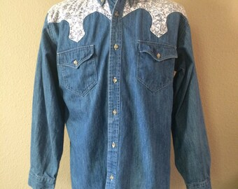 Vintage Men's 80's Express Rider, Western Shirt, Denim, Blue, Long Sleeve (XL)