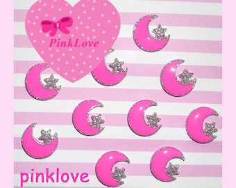 Pink Glitter Moon and Star Resin Cabochons Sparkle Silver Glitter Moon Kawaii Decoden