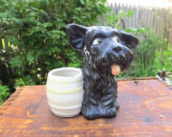Vintage Ceramic Scottie Dog Figurine - Scottie Dog Toothpick Holder