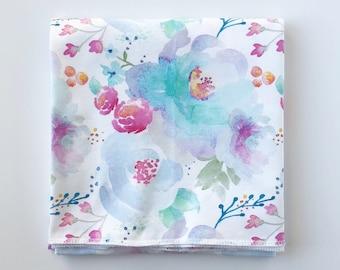 BLUE CRUSH WATERCOLOR >> baby boy blanket, baby girl blanket, stroller blanket, swaddle blanket, lightweight blanket, organic swaddle