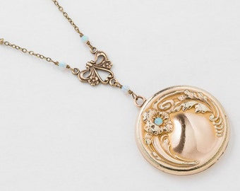 Antique Locket Necklace, Victorian Locket in Gold Filled with Genuine Blue Chalcedony and Opal, Repousse Flower & Leaf, Vintage Photo Locket