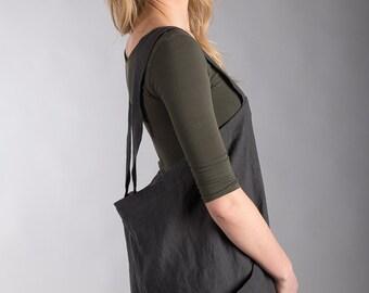 Japanese Apron /Artist Smock / Gardener Overall Charcoal Grey Linen Artisan homewear Pinafore Long Apron Two Pockets