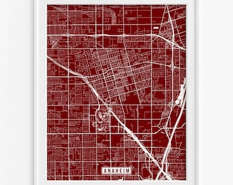 Anaheim Street Map, California Poster, Anaheim Print, Anaheim Map, California Print, California Map, Street Map, Fathers Day Gift