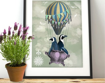 Penguin print - Flying Penguins - penguin décor penguin girls room décor penguin poster Hot air balloon décor theme penguin illustration