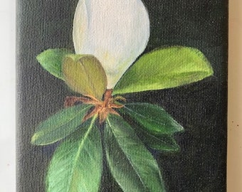 Magnolia Bud Oil Painting