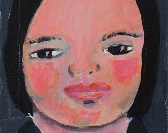 Painting Original Acrylic Portrait Miniature Painting. Young Girl Wall Painting. Original Art. Gift For Her. Stocking Stuffer.