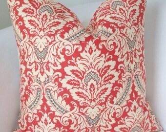 Gray Coral Pillow Cover Decorative Throw Pillow Damask Pillow Accent Pillow Cushion
