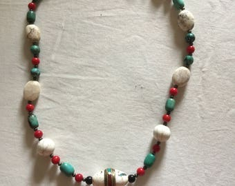 20 inch White and Blue Turquoise with Coral and  Onyx.  Inlaid Middle Eastern Accent Bead.