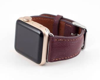 38MM Apple Watch Band-Chevre Leather Maroon