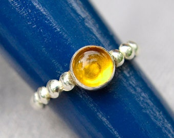 Amber Stacking Ring, Sterling Silver Stacking Ring in Amber, Bridesmaids Gifts, Abish Jewelry Works