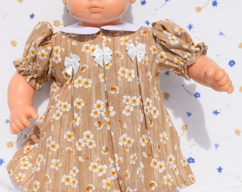 Pretty brown dress with white flowers and collar fits 15 inch baby dolls