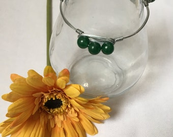 Green Aventurine Bangle Bracelet, Gemstone Bracelet, Wire Wrapped Bracelet