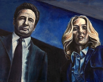 X-Files Mulder and Scully David Duchovny Gillian Anderson Acrylic Painting Art Print 11.7 x 16.5 inches