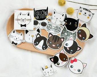 Set of 45 stickers cat