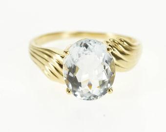 14k Oval Light Blue Topaz Scalloped Freeform Ring Gold