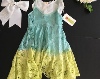Blue and green girls ombre dress with  white slip and bow