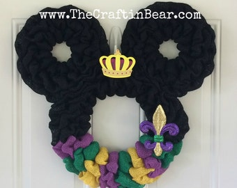 Mardi Gras Mickey Mouse wreath - Burlap wreath - Mickey Mouse wreath - Mardi Gras wreath - Mardi Gras burlap wreath - Fleur de lis - Disney