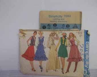 Vintage sewing pattern by simplicity from 1975 number 7053 size 14 with a bust of 36 inches. Only the vest has been cut out.