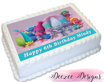 Trolls Personalised A4 Edible Icing Cake Topper